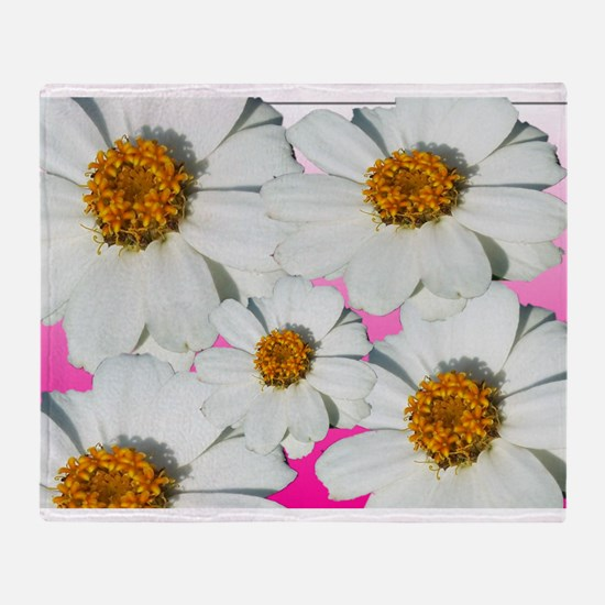 Five White Daisies Throw Blanket