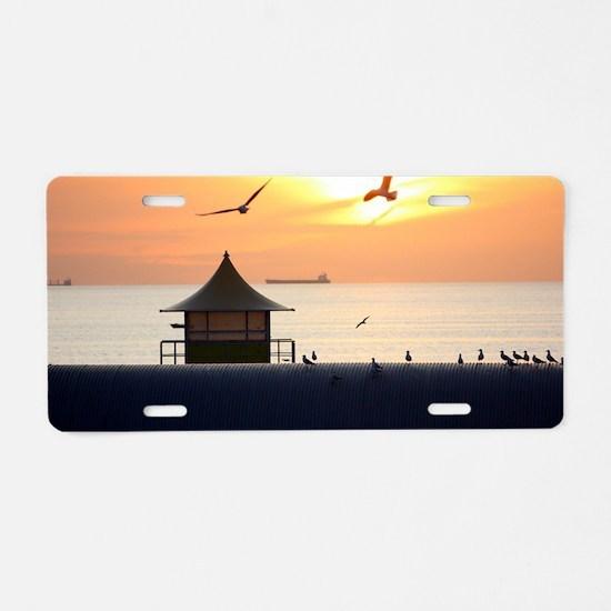 Ocean Sunset with Beach Hut Aluminum License Plate