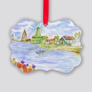 Tulips and Windmills Picture Ornament