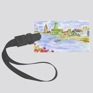 Tulips and Windmills Large Luggage Tag