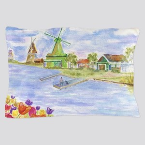 Tulips and Windmills Pillow Case