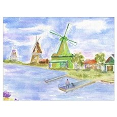 Tulips and Windmills Poster