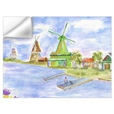 Tulips and Windmills Wall Decal
