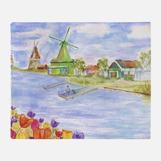 Tulips and Windmills Throw Blanket