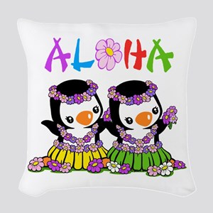 Aloha Penguins (1) Woven Throw Pillow