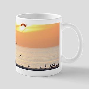 Ocean Sunset with Beach Hut Pagoda and Seagul Mugs