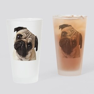 Curious Pug Drinking Glass