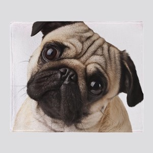 Curious Pug Throw Blanket