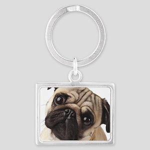 Curious Pug Landscape Keychain