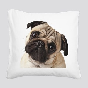 Curious Pug Square Canvas Pillow