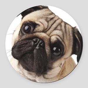 Curious Pug Round Car Magnet