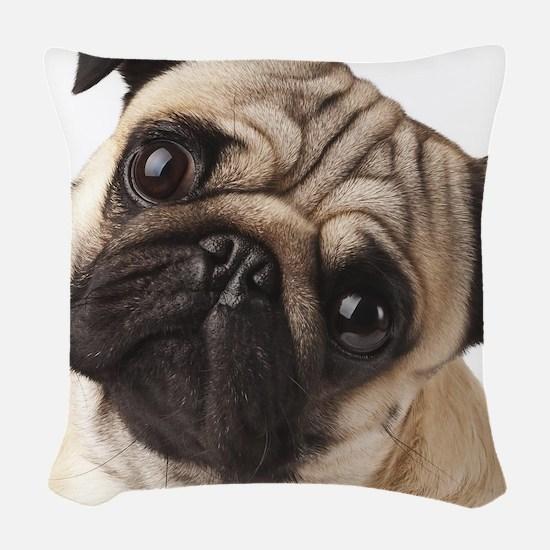 Curious Pug Woven Throw Pillow