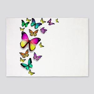 Colorful Butterfly 5'x7'Area Rug