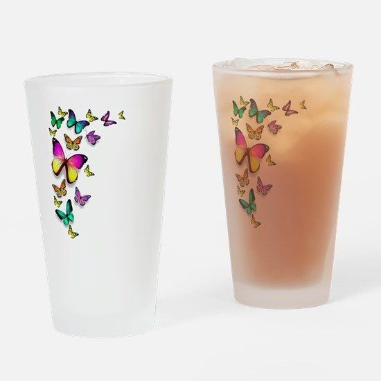 Colorful Butterfly Drinking Glass