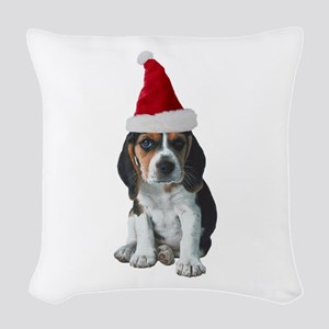 Christmas Beagle Woven Throw Pillow