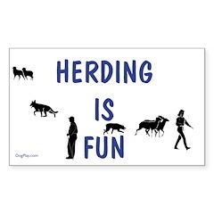 Herding Fun Rectangle Decal