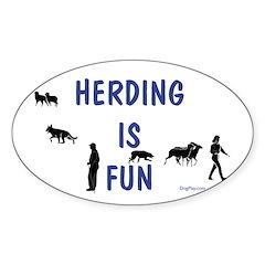 Herding Fun Oval Decal