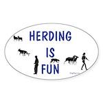 Herding Fun Oval Sticker