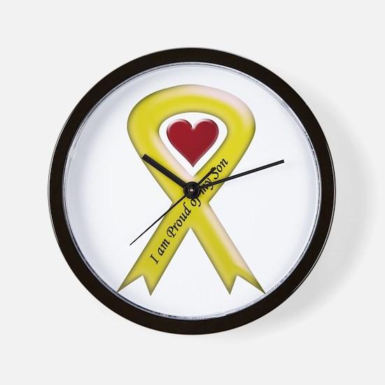 I Am Proud Of My Son Yellow Ribbon Wall Clock