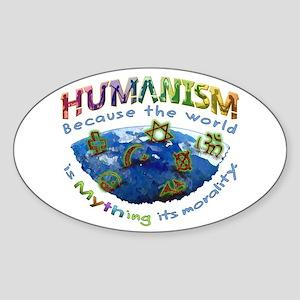 Humanism vs Myth Sticker (Oval)