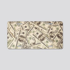 Dollar Bills Aluminum License Plate