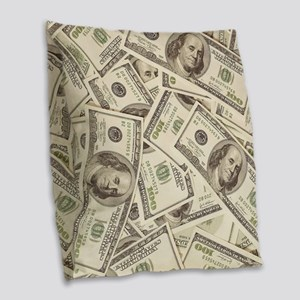 Dollar Bills Burlap Throw Pillow