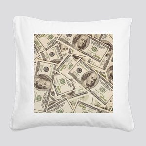 Dollar Bills Square Canvas Pillow