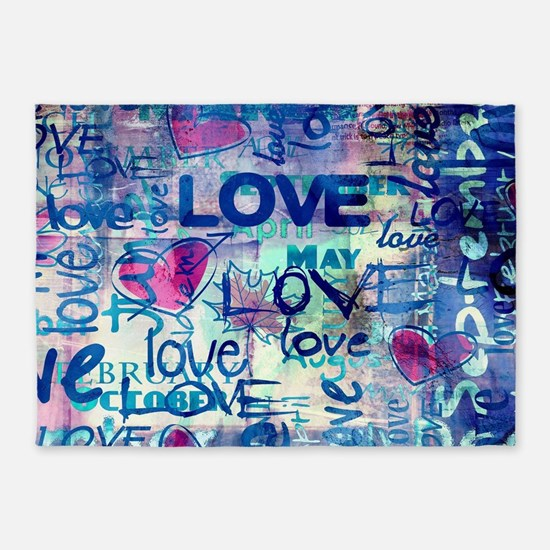 Abstract Love Painting 5'x7'Area Rug