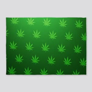 Marijuana Leafs 5'x7'Area Rug
