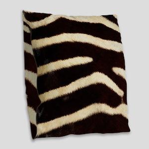 Zebra Fur Burlap Throw Pillow