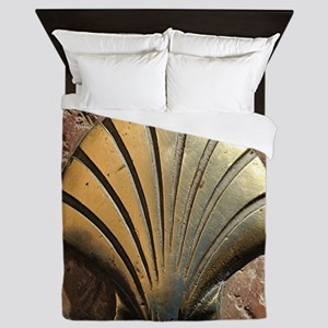 Gold El Camino shell sign, pavement, L Queen Duvet