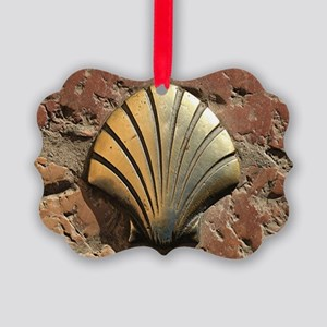 Gold El Camino shell sign, paveme Picture Ornament