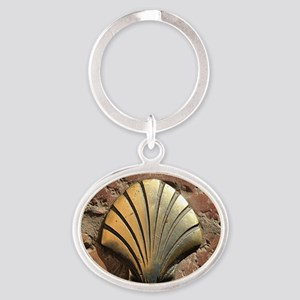 Gold El Camino shell sign, pavement, Oval Keychain