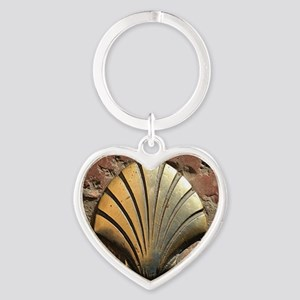 Gold El Camino shell sign, pavement Heart Keychain