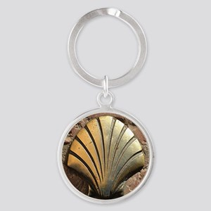 Gold El Camino shell sign, pavement Round Keychain