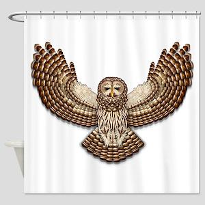 Beadwork Barred Owl Shower Curtain