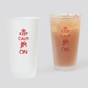 Keep Calm and Jim ON Drinking Glass