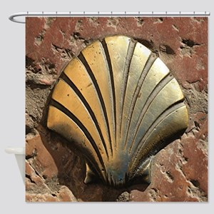 Gold El Camino shell sign, pavement Shower Curtain