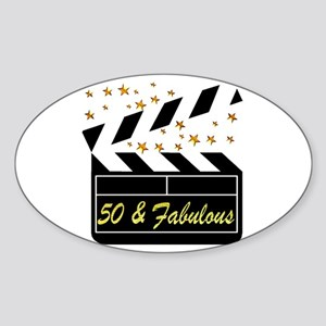 GLAMOROUS 50TH Sticker (Oval)