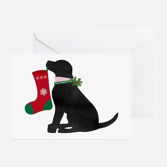 Christmas Black Lab Preppy Do Greeting Cards