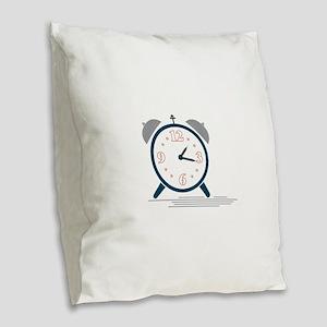 Alarm Clock Burlap Throw Pillow