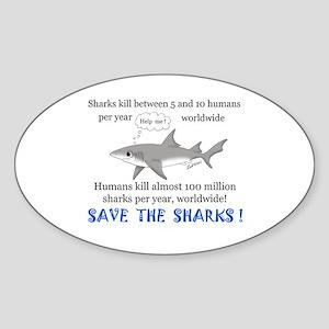 Save the Sharks Oval Sticker