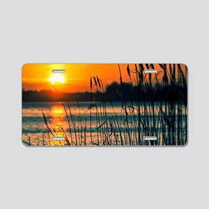 Sunset at the Lake Aluminum License Plate
