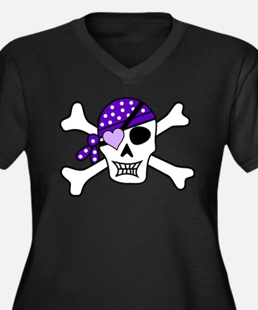 Purple Pirate skull and crossbon Plus Size T-Shirt