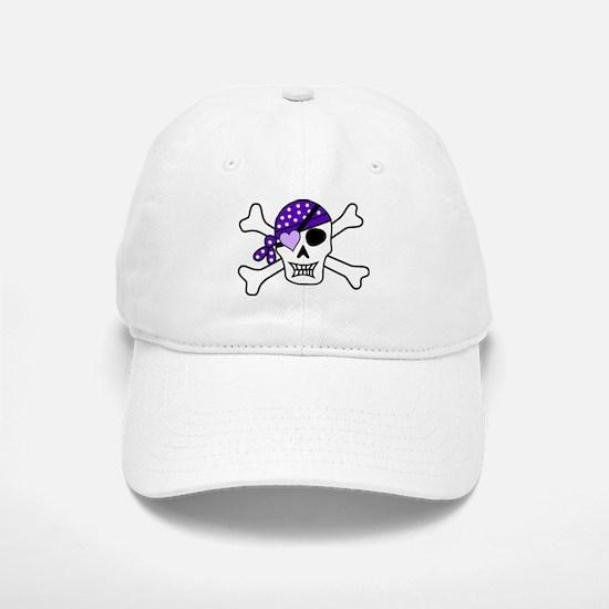 Purple Pirate skull and crossbones Baseball Baseball Cap