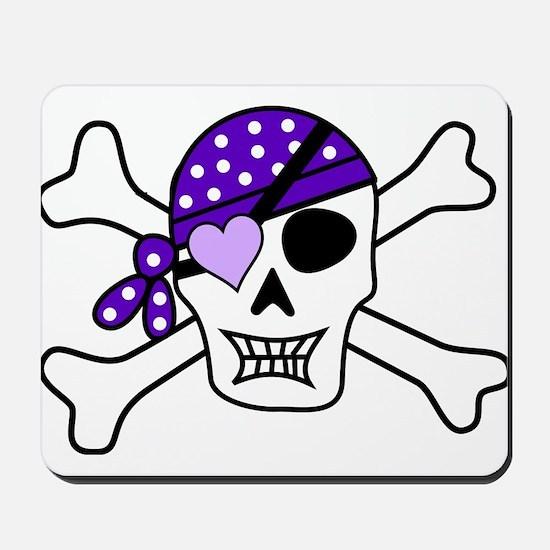Purple Pirate skull and crossbones Mousepad