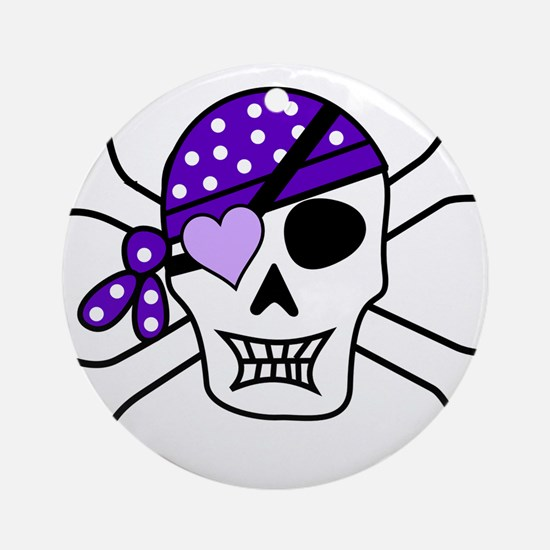 Purple Pirate skull and crossbone Ornament (Round)