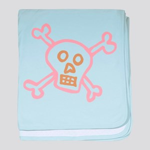 Abstract pink skull and crossboones ( baby blanket