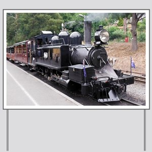 Black and White Old Fashioned Steam Trai Yard Sign