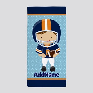 Personalized Name Kid's Football Beach Towel